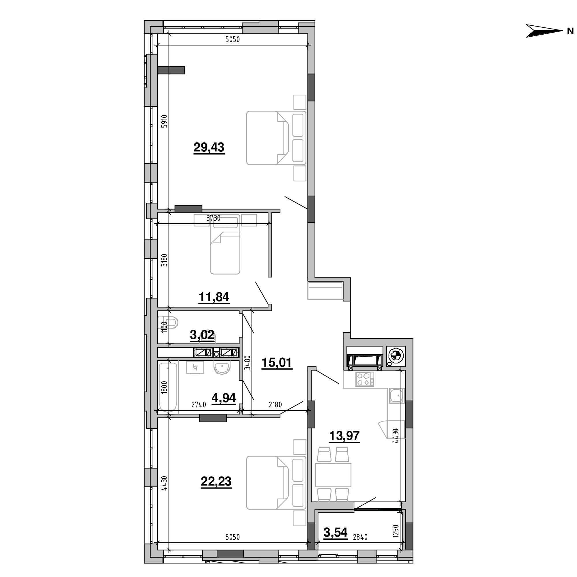 ЖК Підзамче. Вежа: планування 3-кімнатної квартири, №46, 103.98 м<sup>2</sup>