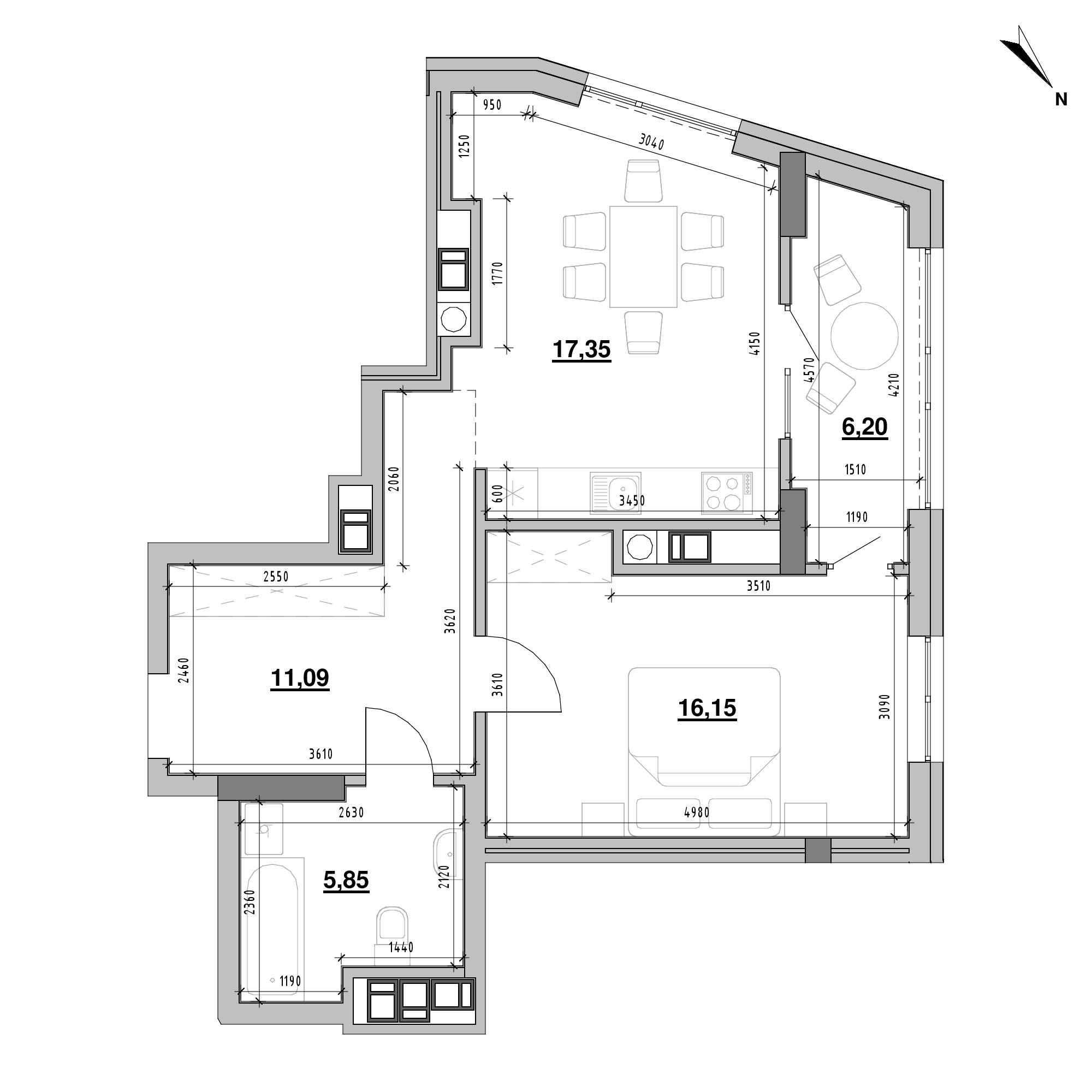 ЖК Ярославенка: планування 1-кімнатної квартири, №16, 56.64 м<sup>2</sup>