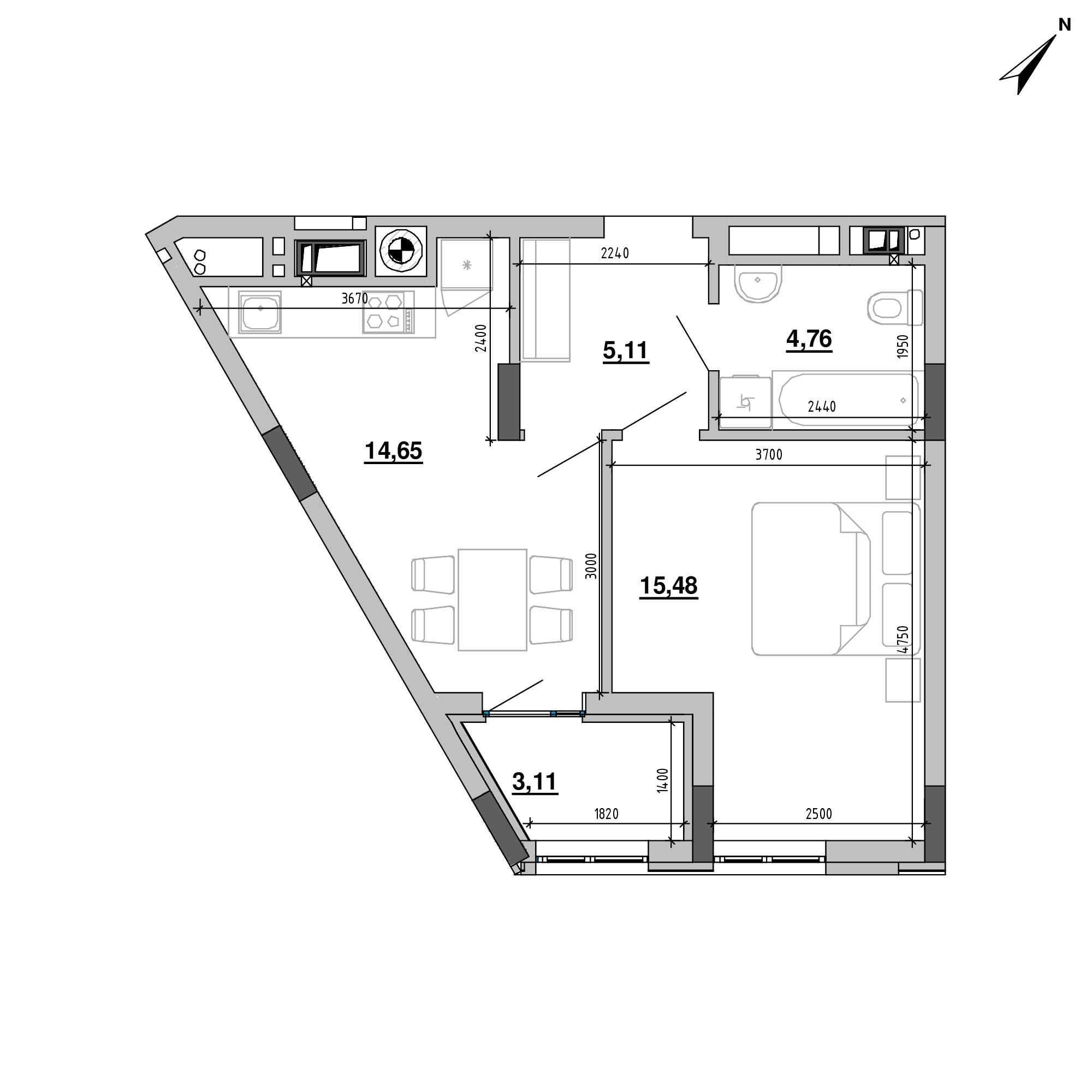 ЖК Підзамче. Вежа: планування 1-кімнатної квартири, №13, 43.11 м<sup>2</sup>