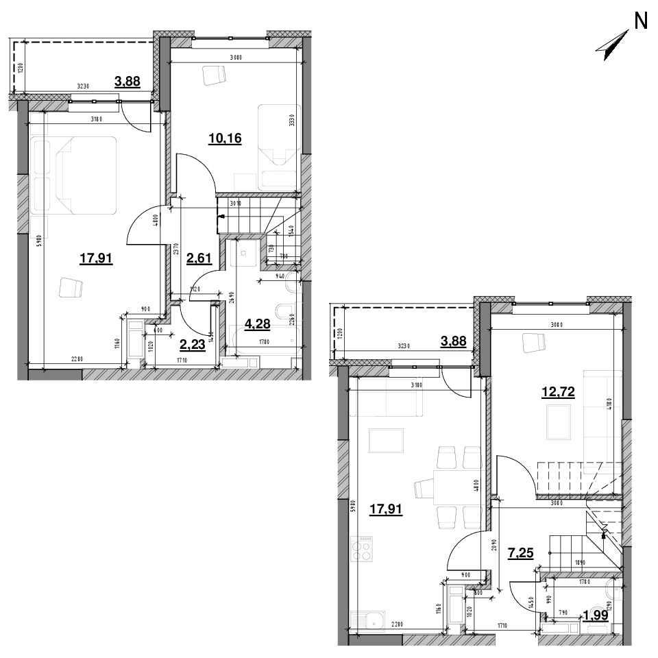ЖК Оk'Land: планування 3-кімнатної квартири, №572, 84.82 м<sup>2</sup>