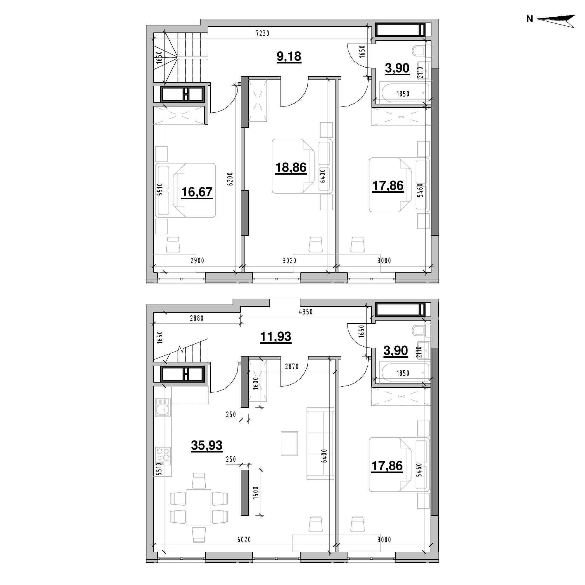 ЖК Nordica Residence: планування 4-кімнатної квартири, №213, 136.09 м<sup>2</sup>