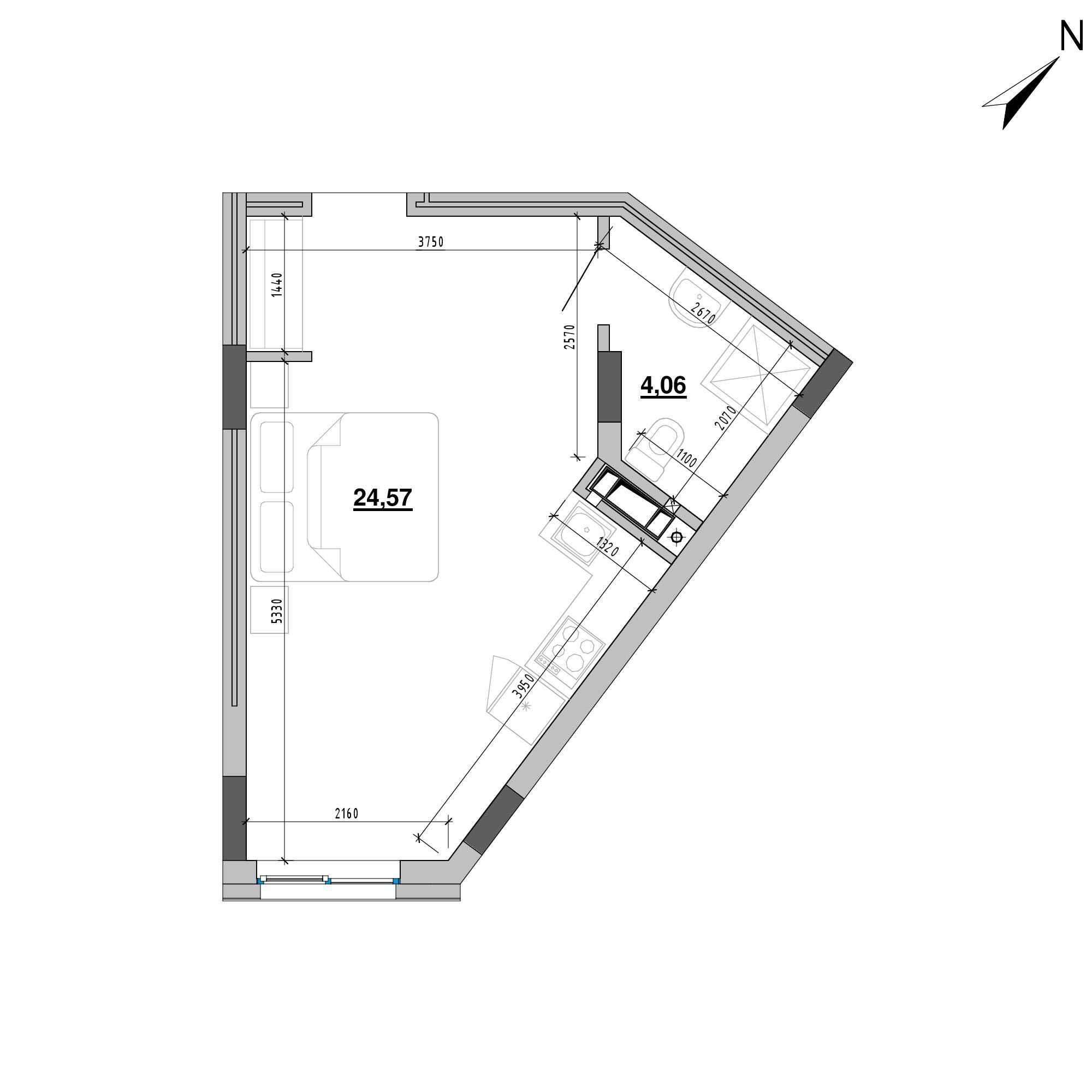 ЖК Підзамче. Новий Форт: планування 1-кімнатної квартири, №1б, 28.63 м<sup>2</sup>
