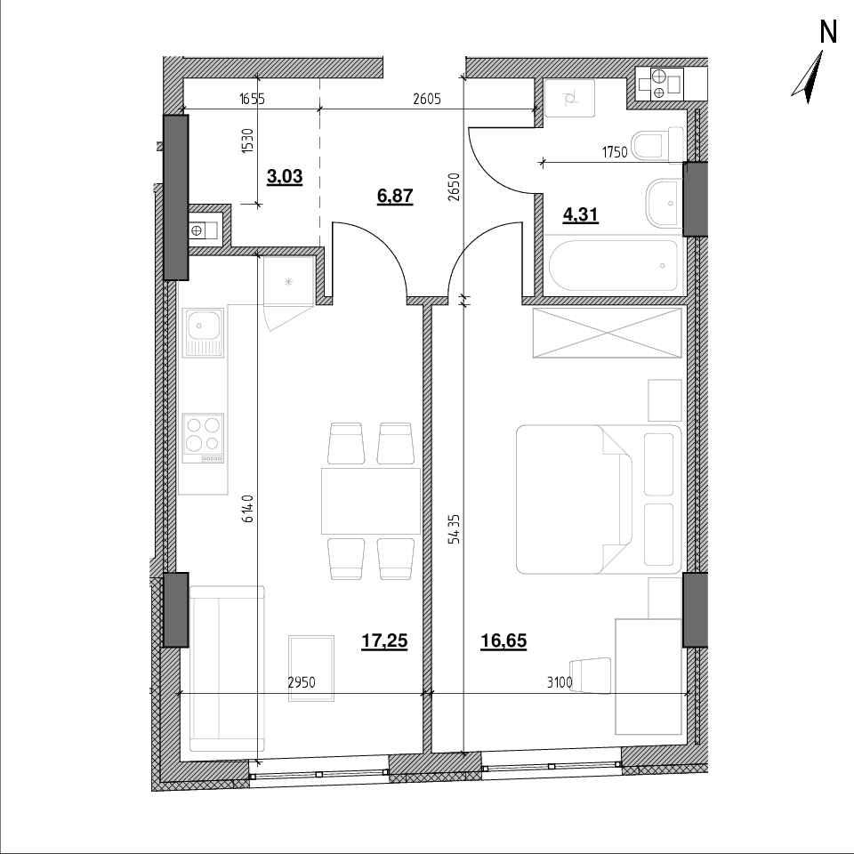 ЖК Topolis: планування 1-кімнатної квартири, №86, 47.8 м<sup>2</sup>