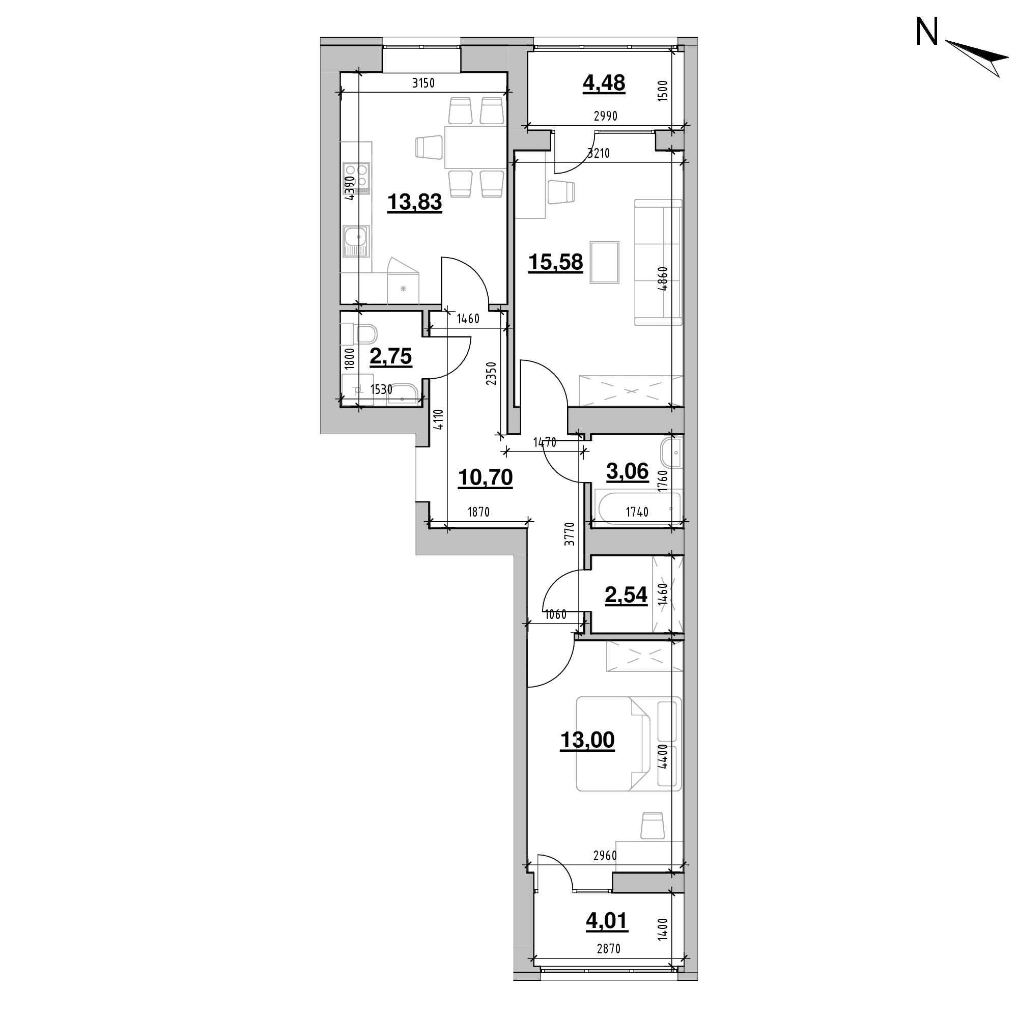 ЖК Шенген: планування 2-кімнатної квартири, №2, 69.95 м<sup>2</sup>