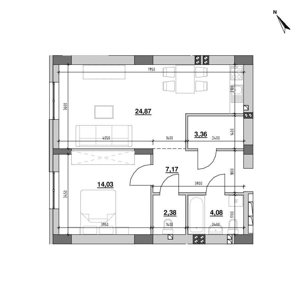 ЖК Riel City: планування 1-кімнатної квартири, №201, 55.57 м<sup>2</sup>