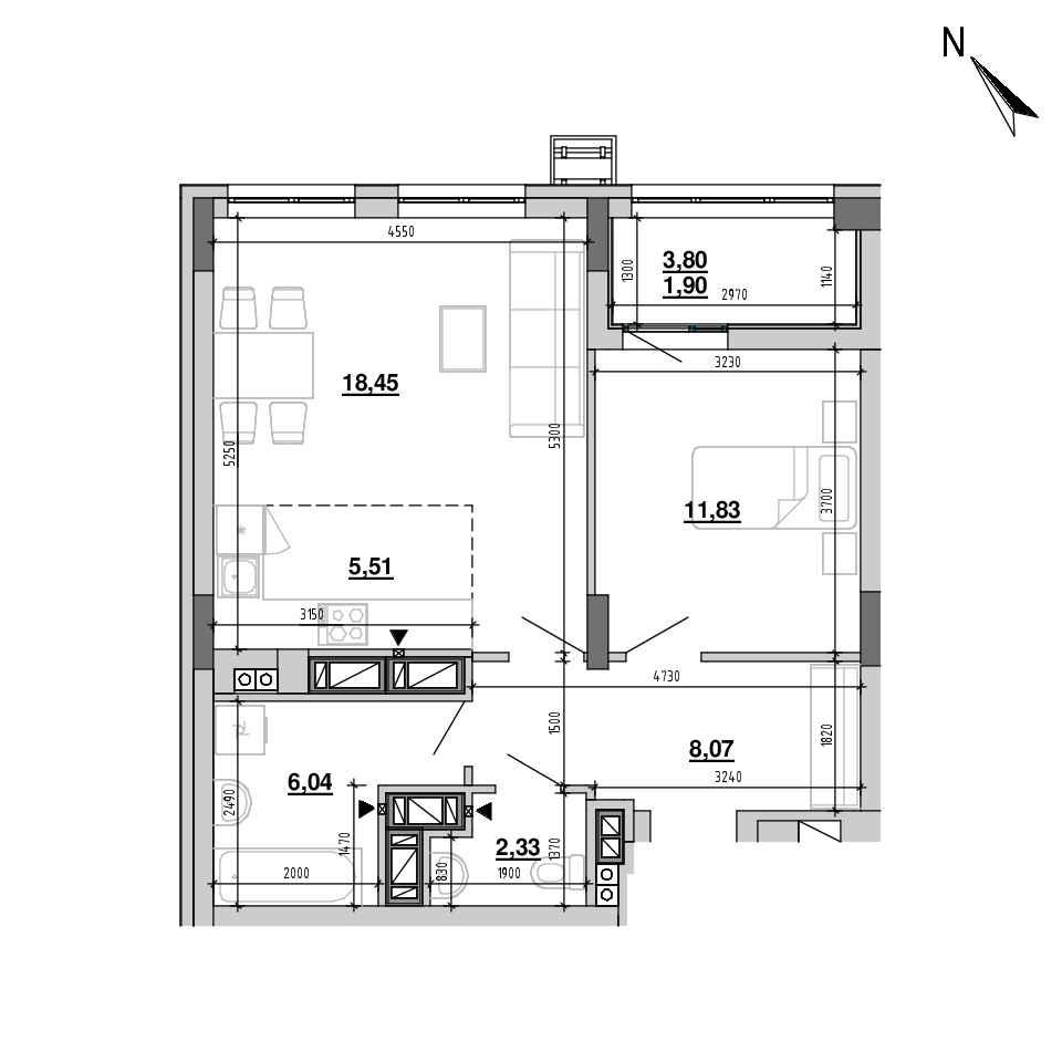 ЖК Підзамче. Вежа: планування 2-кімнатної квартири, №24, 54.13 м<sup>2</sup>
