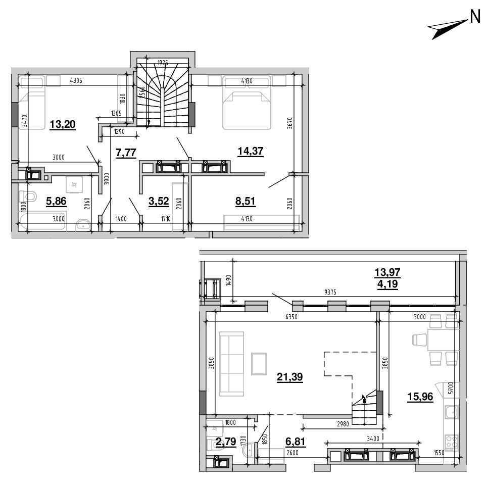 ЖК Підзамче. Новий Форт: планування 4-кімнатної квартири, №31, 104.37 м<sup>2</sup>