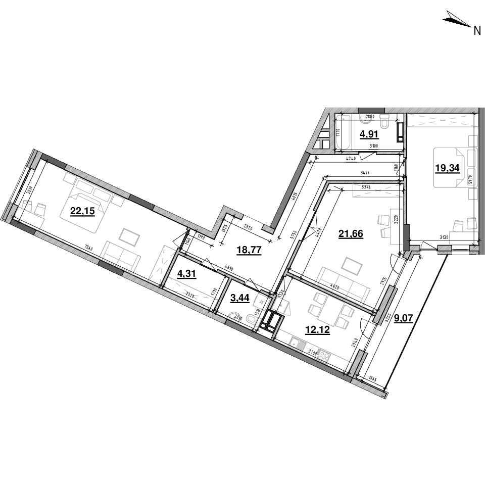 ЖК Львівська Площа: планування 3-кімнатної квартири, №136, 115.77 м<sup>2</sup>