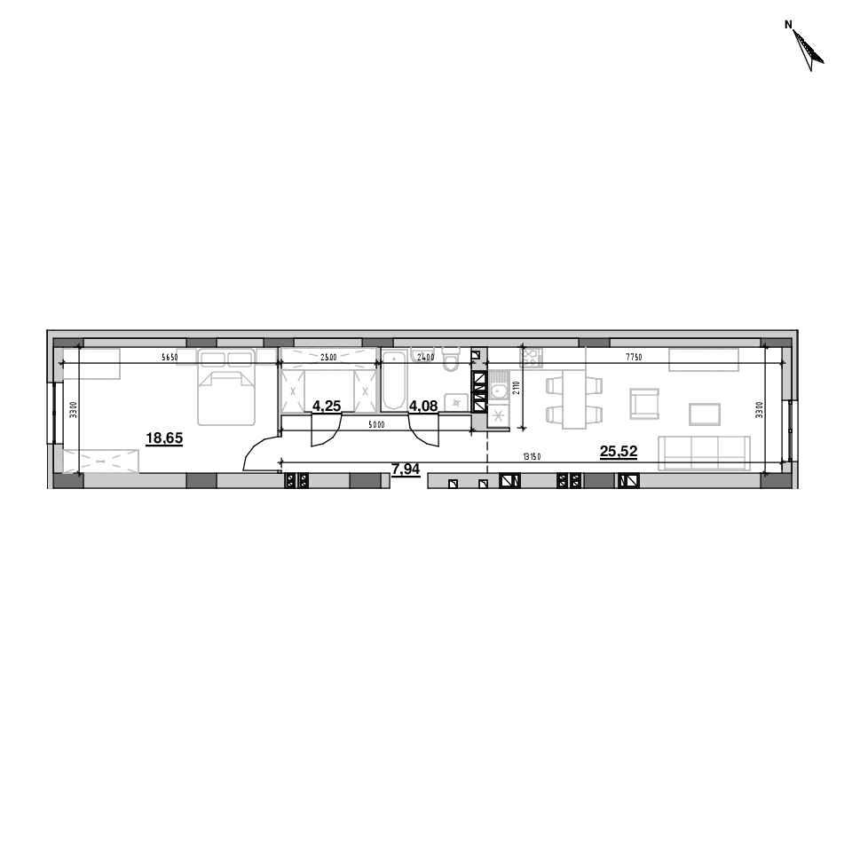 ЖК Riel City: планування 1-кімнатної квартири, №126, 57.46 м<sup>2</sup>