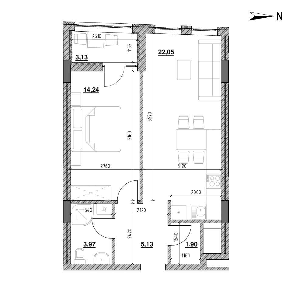 ЖК Голоські Кручі: планування 1-кімнатної квартири, №78, 50.42 м<sup>2</sup>