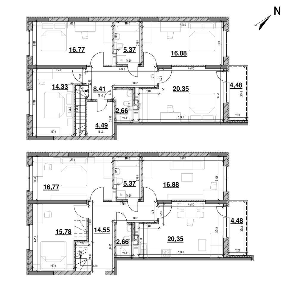 ЖК Оk'Land: планування 7-кімнатної квартири, №266, 195.86 м<sup>2</sup>