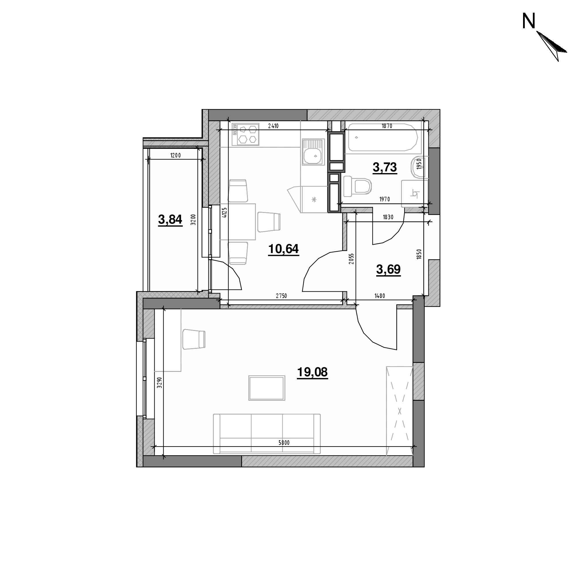 ЖК Оk'Land: планування 1-кімнатної квартири, №192, 40.98 м<sup>2</sup>