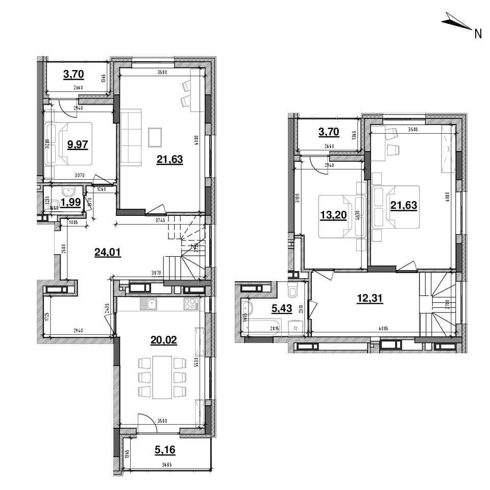 ЖК Львівська Площа: планування 4-кімнатної квартири, №163, 140.16 м<sup>2</sup>