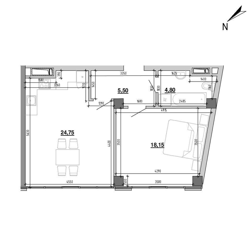 ЖК Підзамче. Вежа: планування 1-кімнатної квартири, №14, 53.2 м<sup>2</sup>