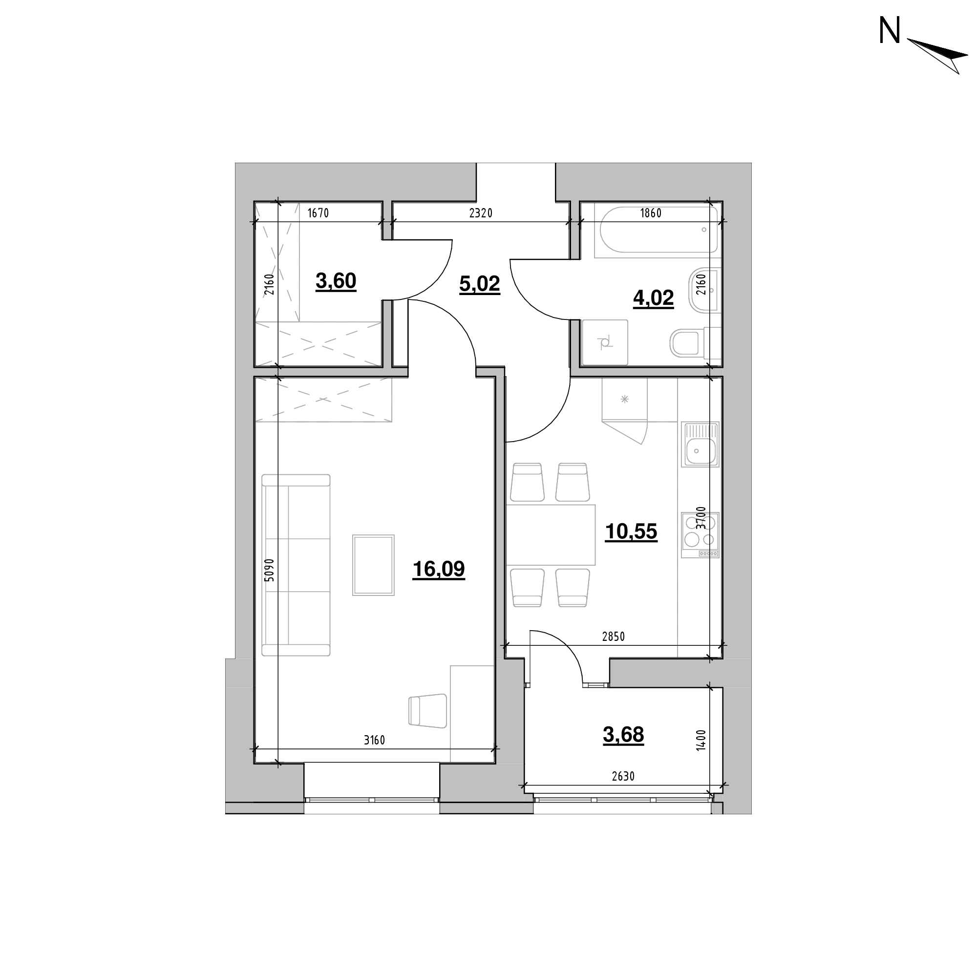 ЖК Шенген: планування 1-кімнатної квартири, №59, 42.96 м<sup>2</sup>