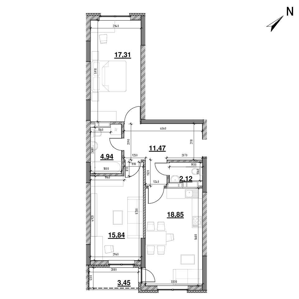 ЖК Оk'Land: планування 2-кімнатної квартири, №96, 73.98 м<sup>2</sup>