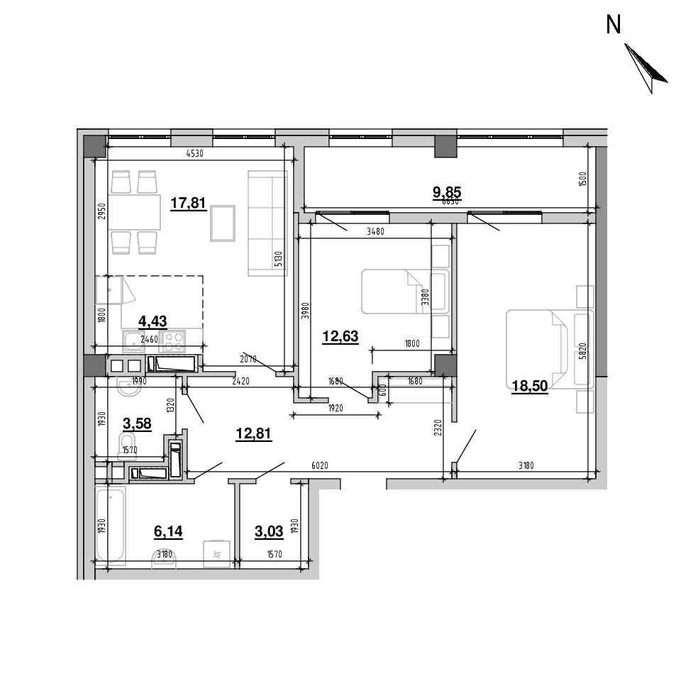 ЖК Підзамче. Вежа: планування 3-кімнатної квартири, №10, 88.78 м<sup>2</sup>