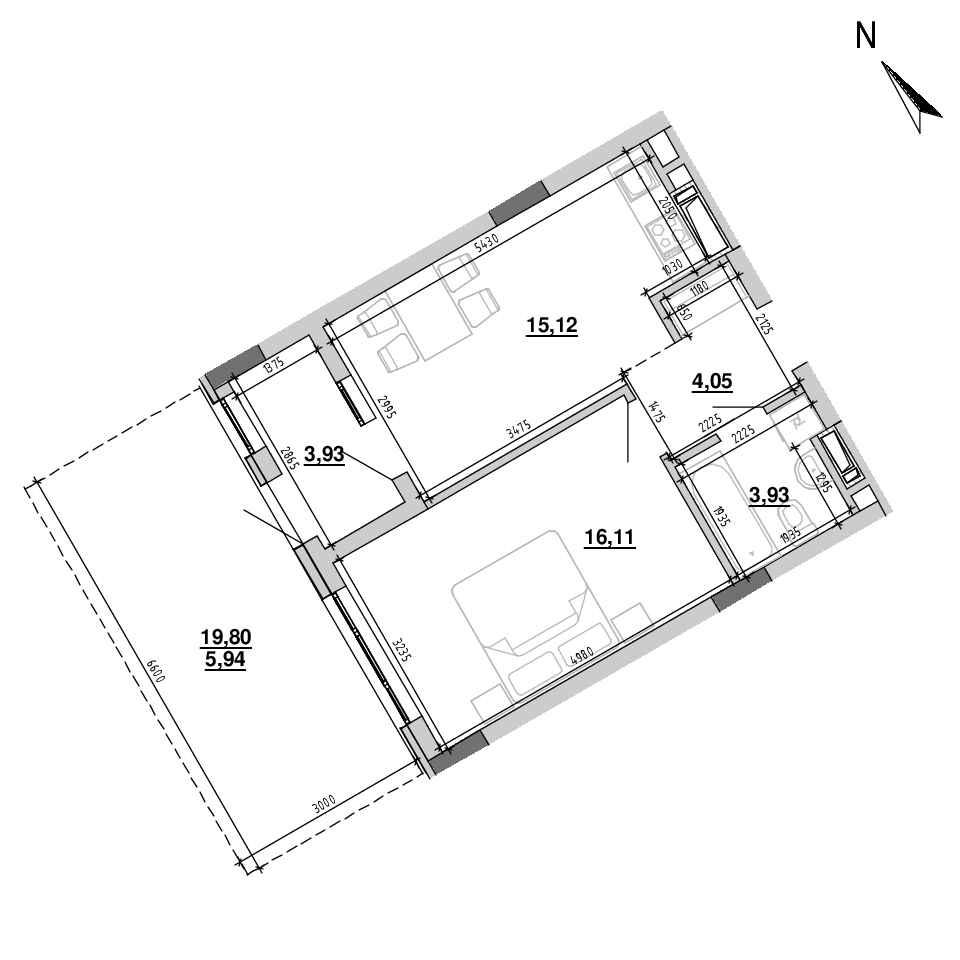 ЖК Підзамче. Вежа: планування 1-кімнатної квартири, №3, 49.08 м<sup>2</sup>