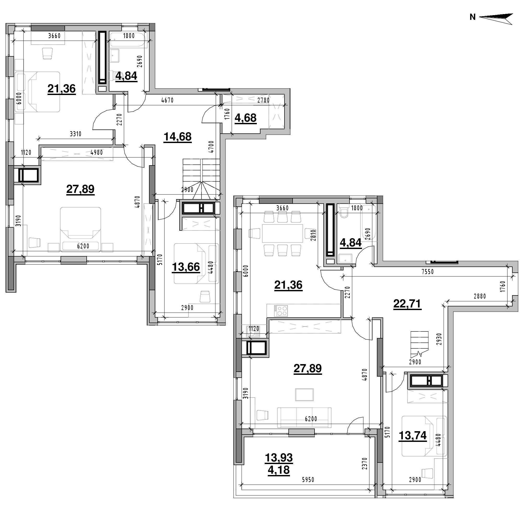 ЖК Nordica Residence: планування 5-кімнатної квартири, №214, 181.83 м<sup>2</sup>