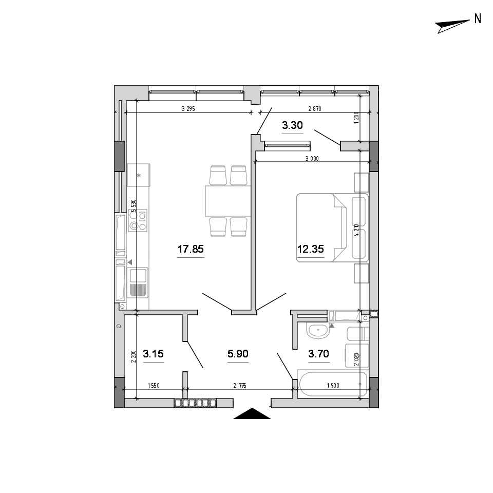 ЖК Forward: планування 1-кімнатної квартири, №132, 46.25 м<sup>2</sup>