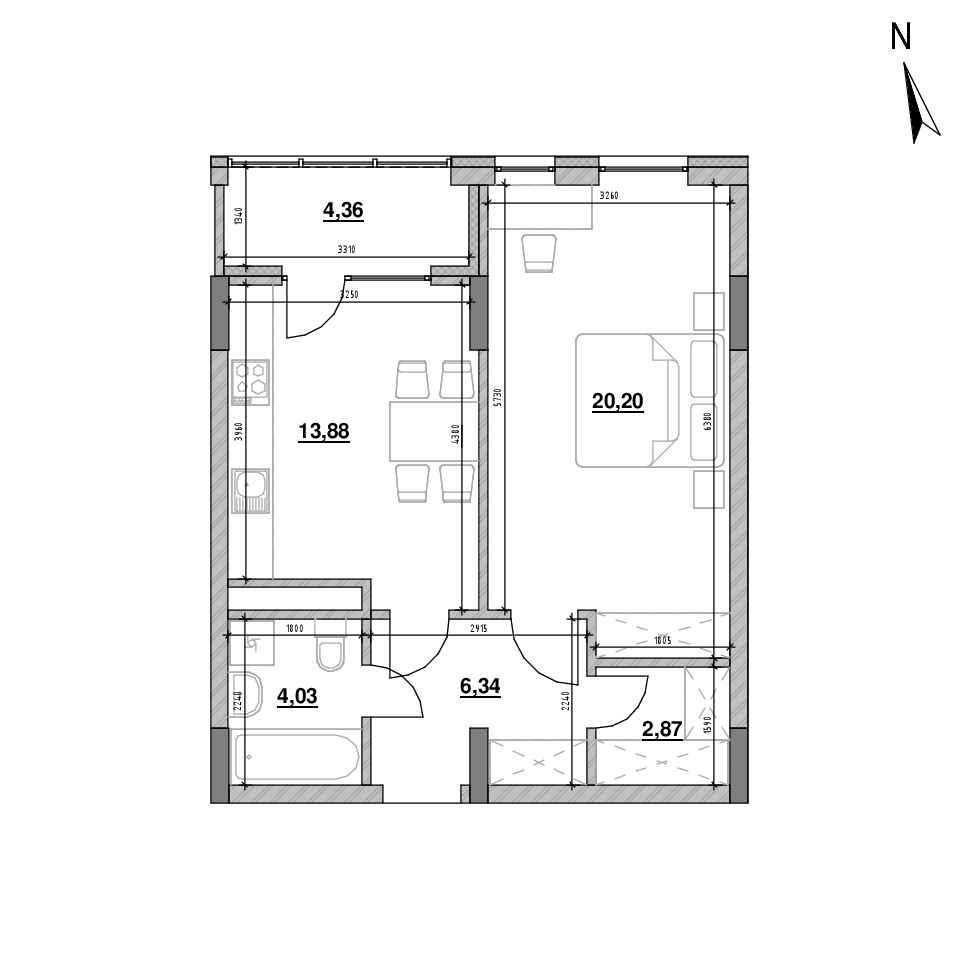 ЖК Велика Британія: планування 1-кімнатної квартири, №124, 51.68 м<sup>2</sup>