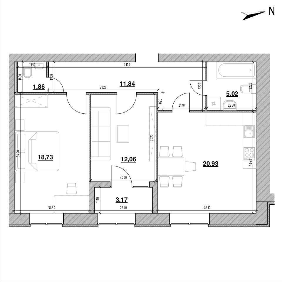 ЖК Компаньйон: планування 2-кімнатної квартири, №1, 73.61 м<sup>2</sup>