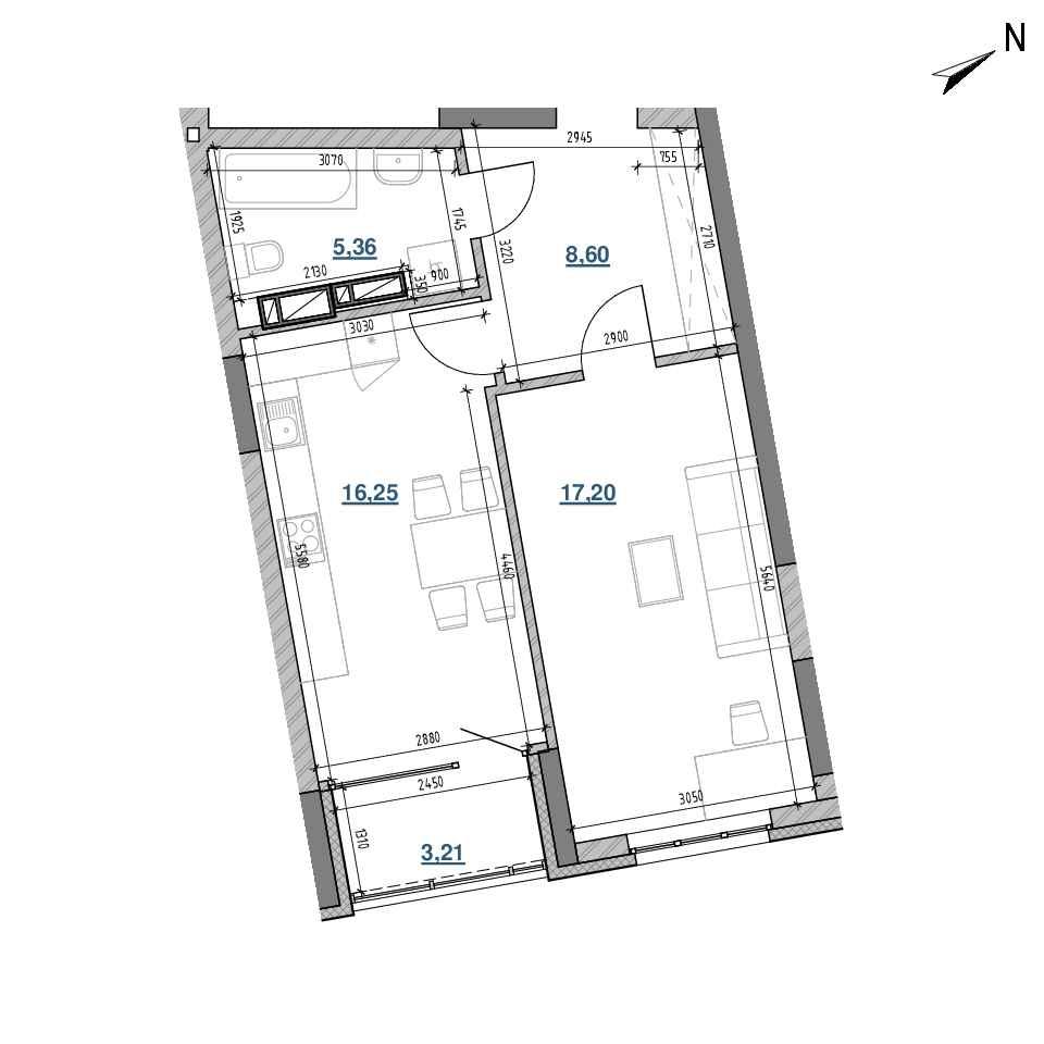 ЖК Берег Дніпра: планування 1-кімнатної квартири, №284, 50.62 м<sup>2</sup>
