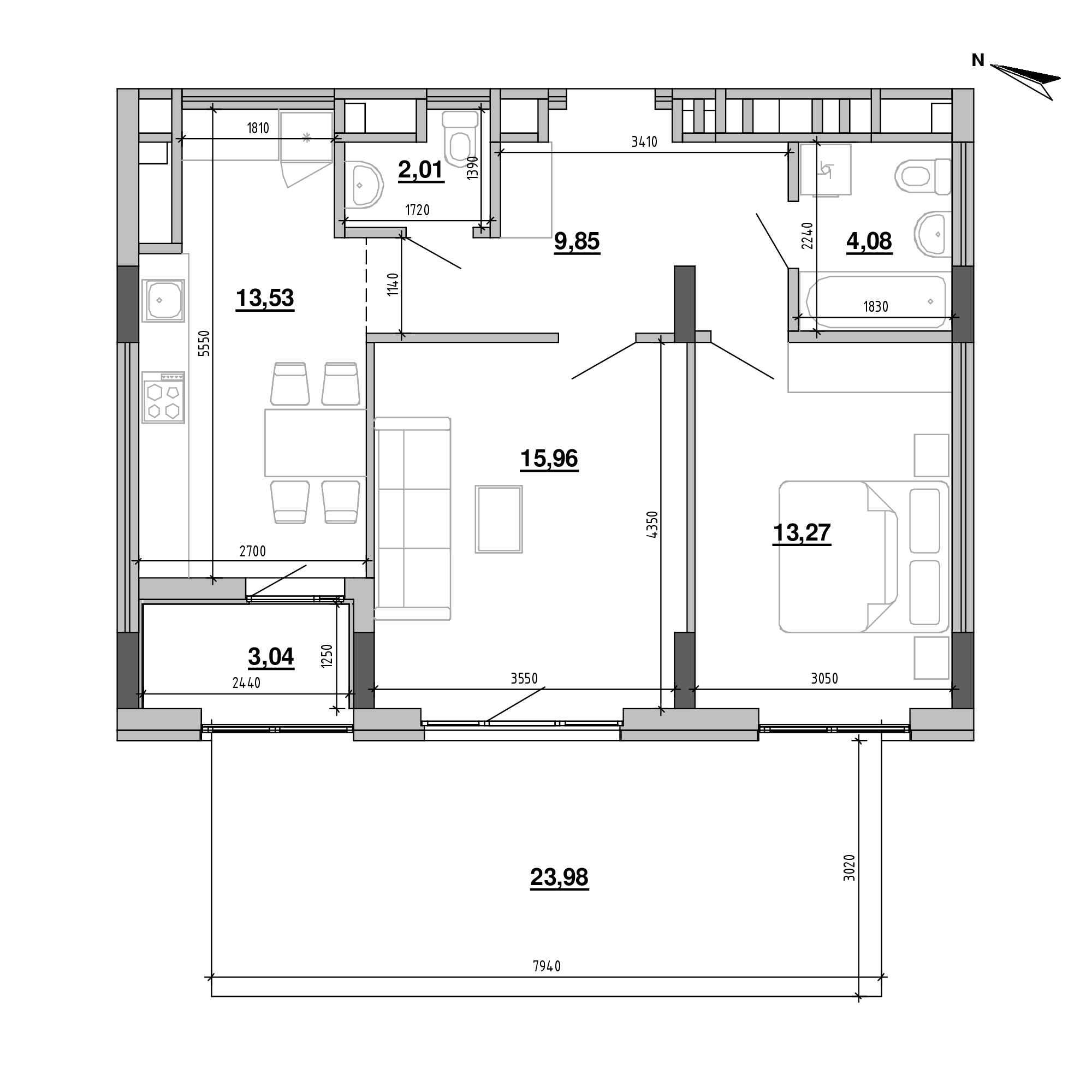 ЖК Підзамче. Брама: планування 2-кімнатної квартири, №3, 68.93 м<sup>2</sup>
