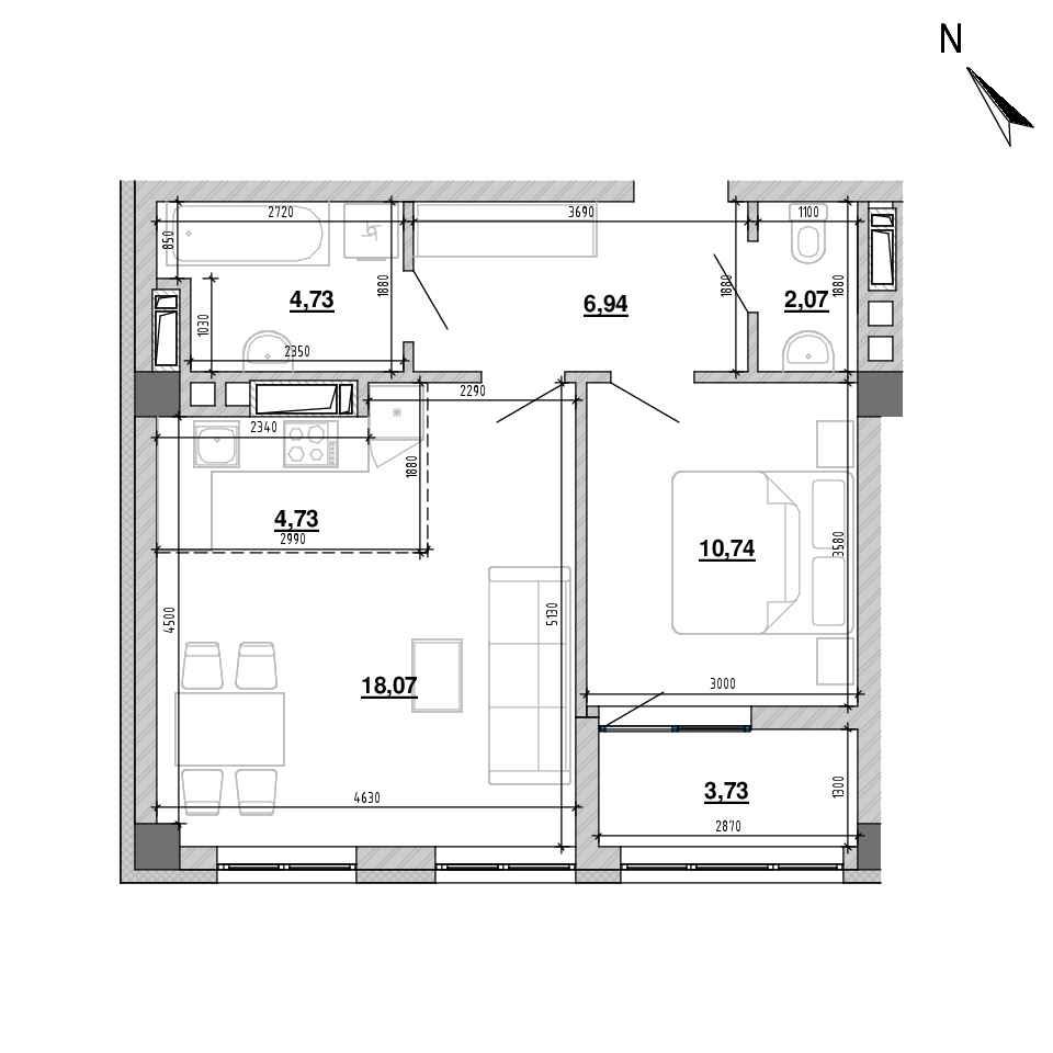ЖК Підзамче. Вежа: планування 2-кімнатної квартири, №8, 50.86 м<sup>2</sup>