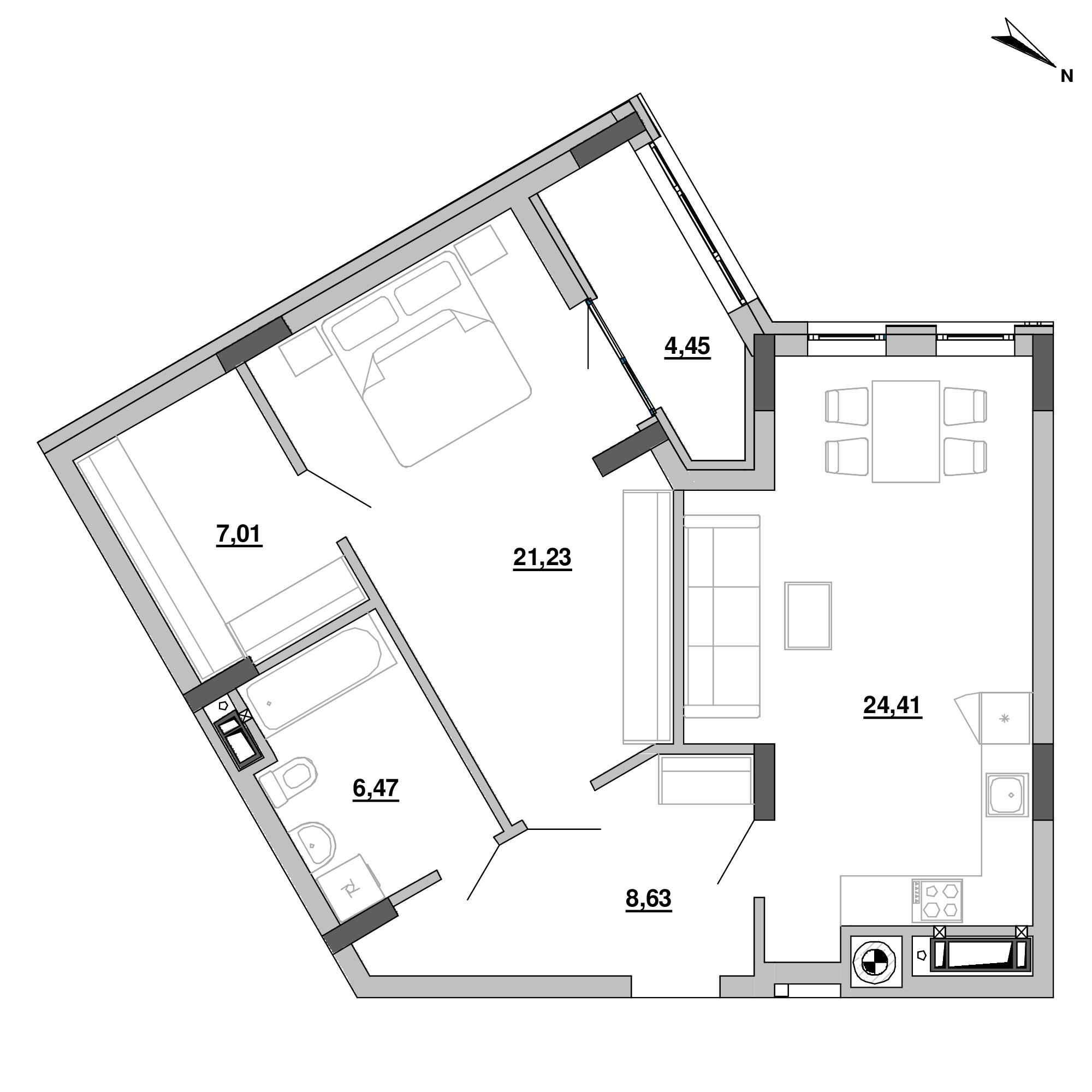 ЖК Підзамче. Вежа: планування 2-кімнатної квартири, №51, 72.2 м<sup>2</sup>