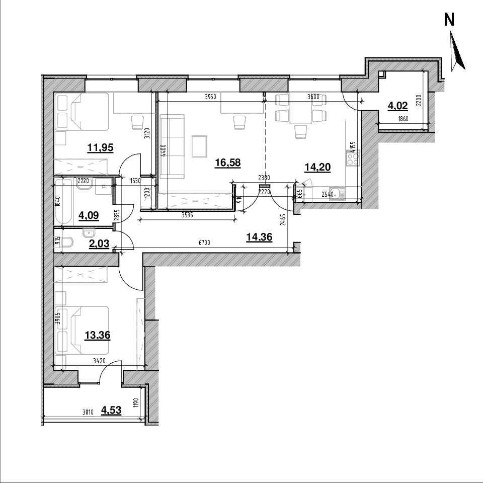 ЖК Компаньйон: планування 3-кімнатної квартири, №8, 85.12 м<sup>2</sup>
