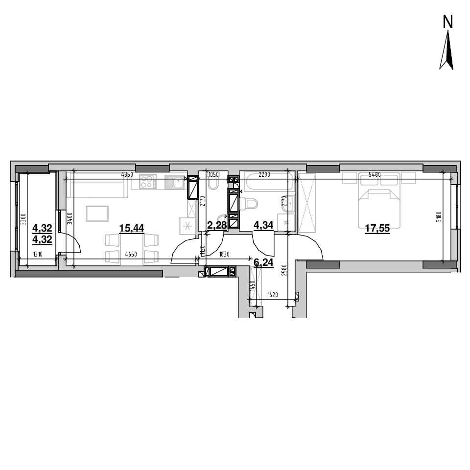 ЖК Riel City: планування 1-кімнатної квартири, №89, 50.17 м<sup>2</sup>