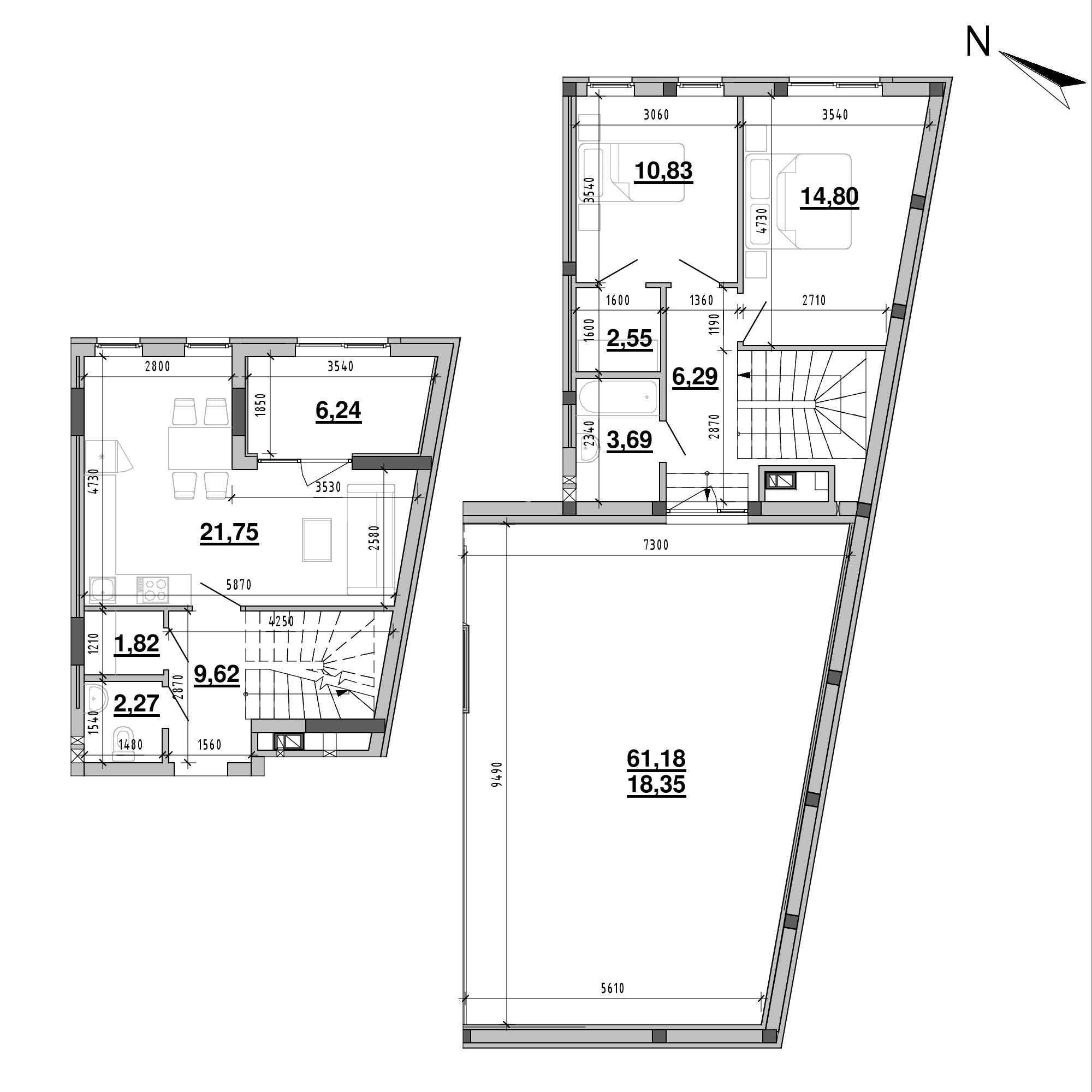 ЖК Підзамче. Брама: планування 2-кімнатної квартири, №18а, 98.21 м<sup>2</sup>