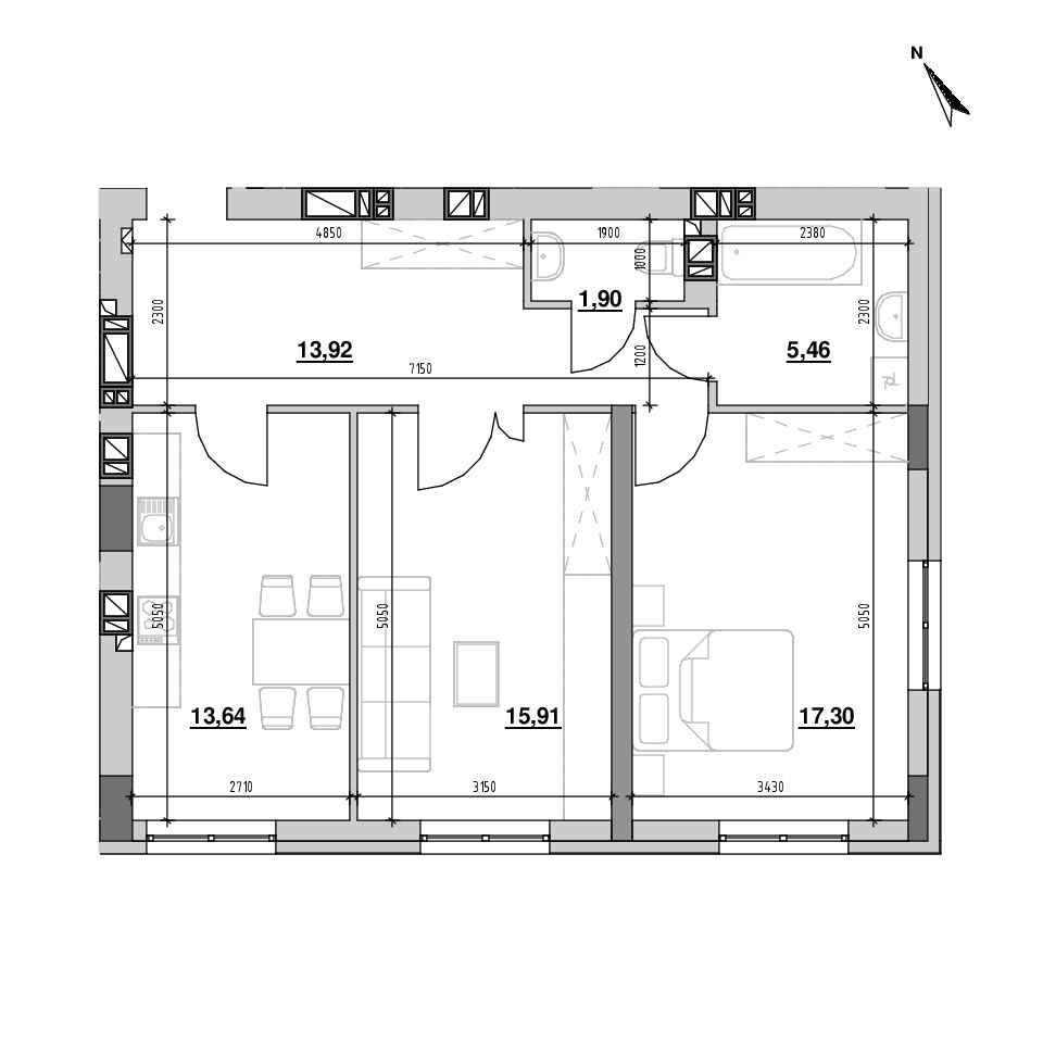 ЖК Riel City: планування 2-кімнатної квартири, №211, 68.13 м<sup>2</sup>