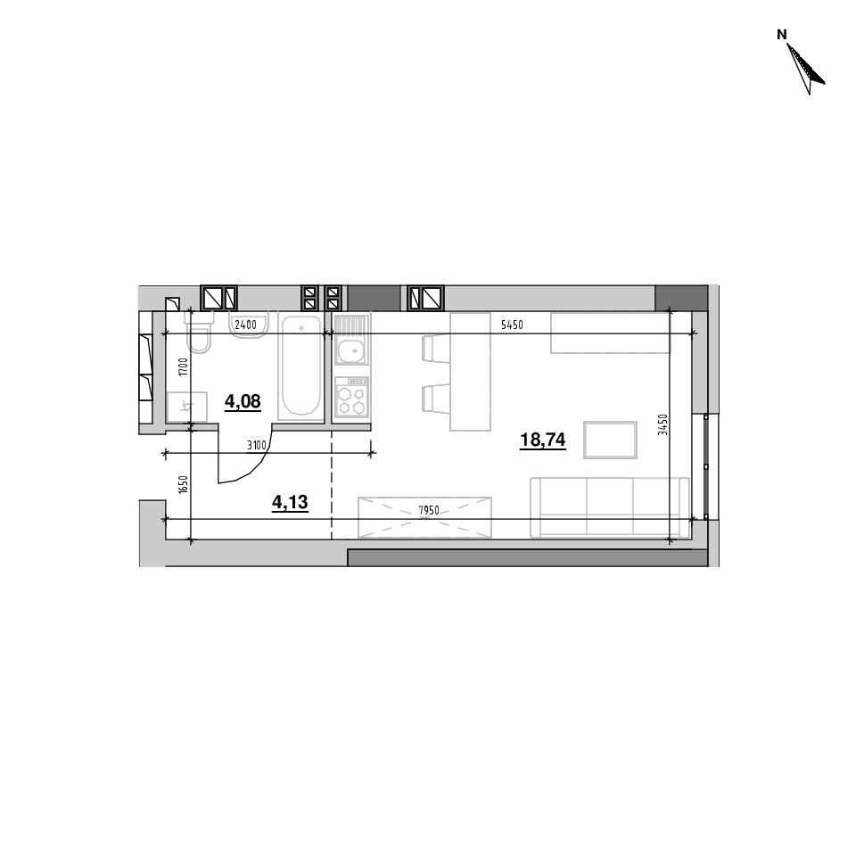ЖК Riel City: планування 1-кімнатної квартири, №203, 26.95 м<sup>2</sup>