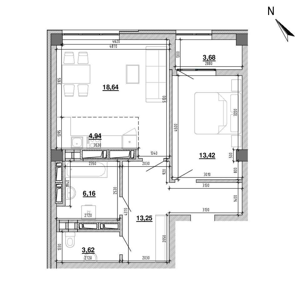 ЖК Підзамче. Вежа: планування 2-кімнатної квартири, №27, 63.71 м<sup>2</sup>