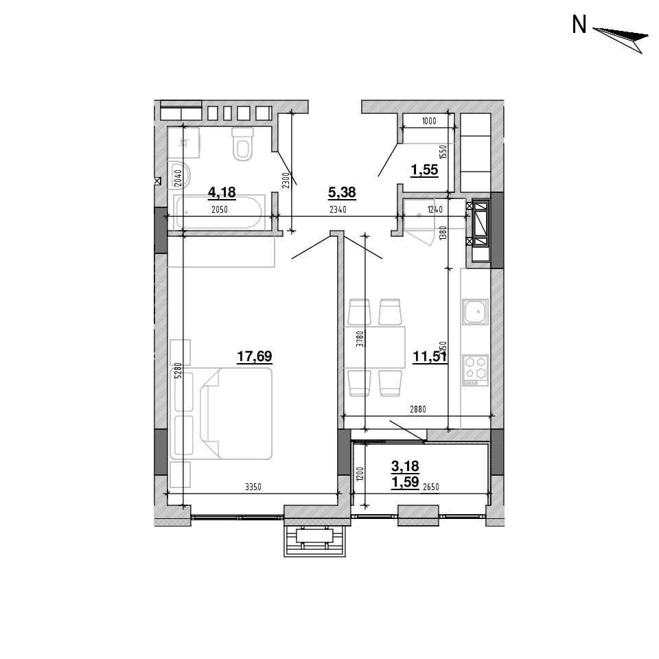 ЖК Підзамче. Брама: планування 1-кімнатної квартири, №43, 41.9 м<sup>2</sup>