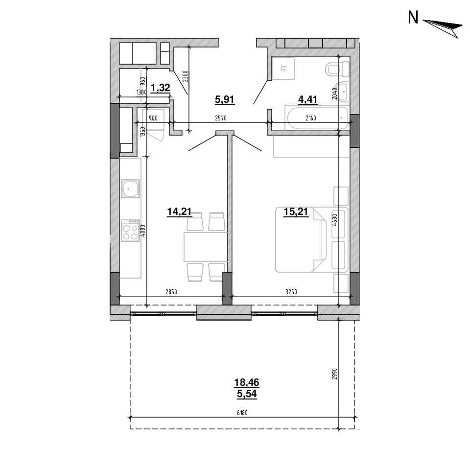 ЖК Підзамче. Брама: планування 1-кімнатної квартири, №4, 46.6 м<sup>2</sup>