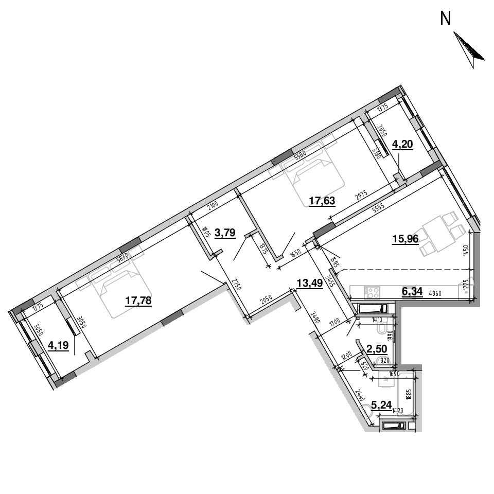 ЖК Підзамче. Вежа: планування 3-кімнатної квартири, №39, 91.12 м<sup>2</sup>