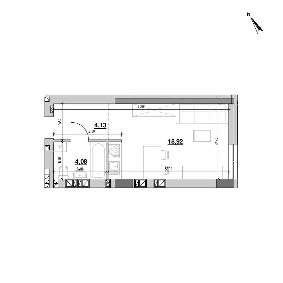 ЖК Riel City: планування 1-кімнатної квартири, №204, 27.12 м<sup>2</sup>