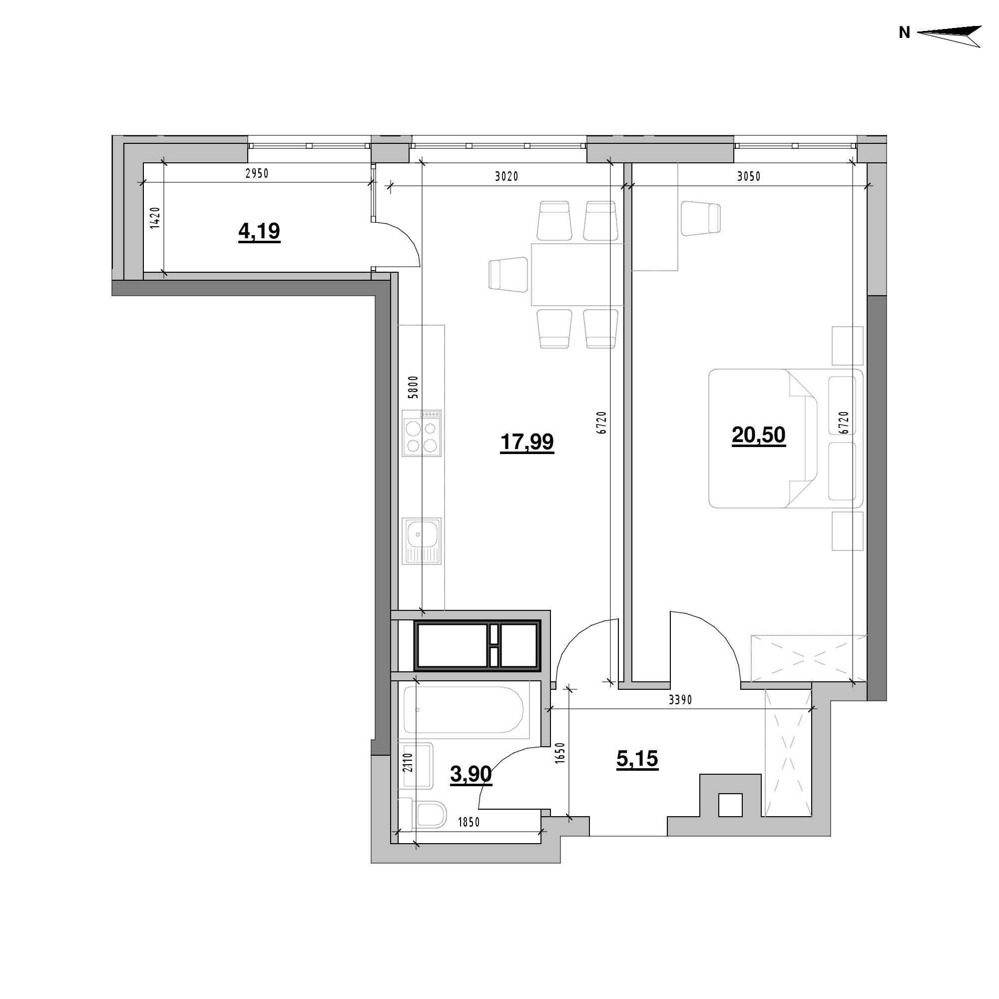 ЖК Nordica Residence: планування 1-кімнатної квартири, №199, 51.73 м<sup>2</sup>