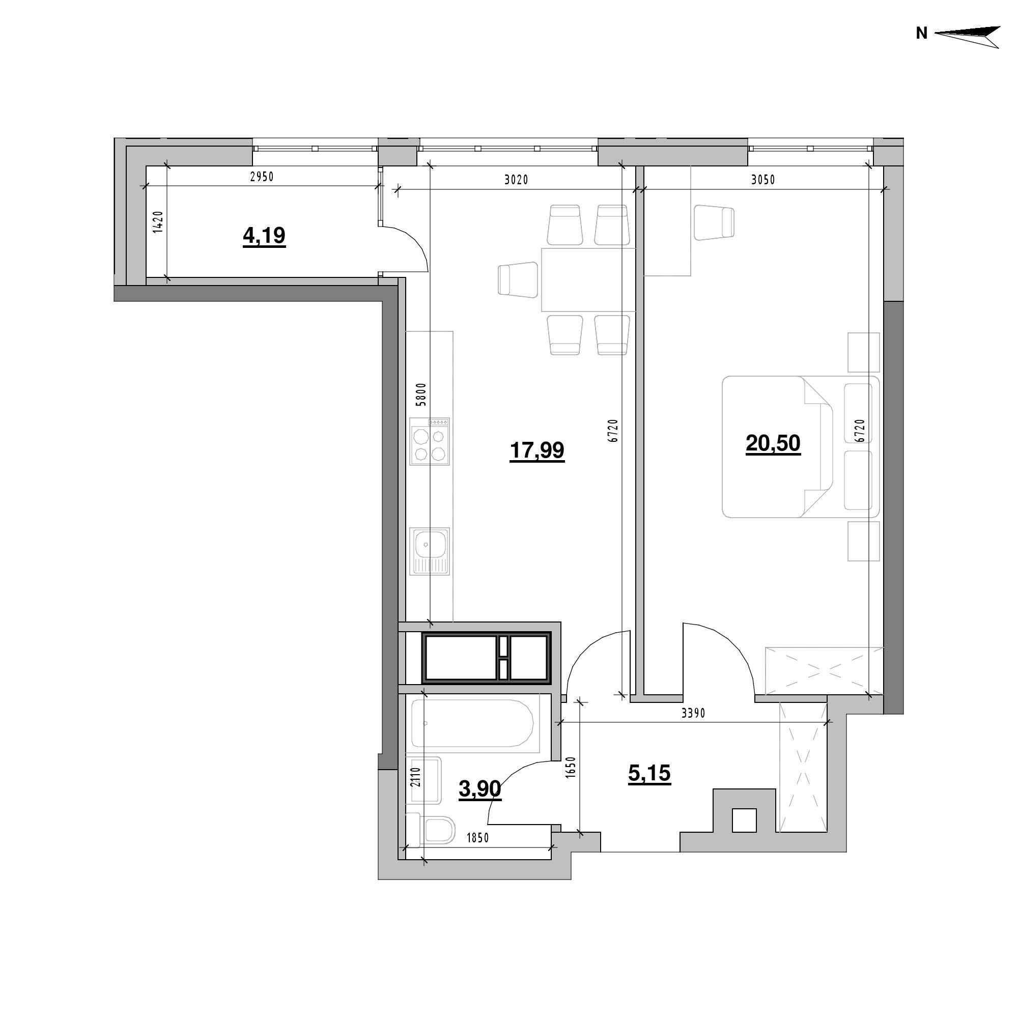 ЖК Nordica Residence: планування 1-кімнатної квартири, №190, 51.73 м<sup>2</sup>