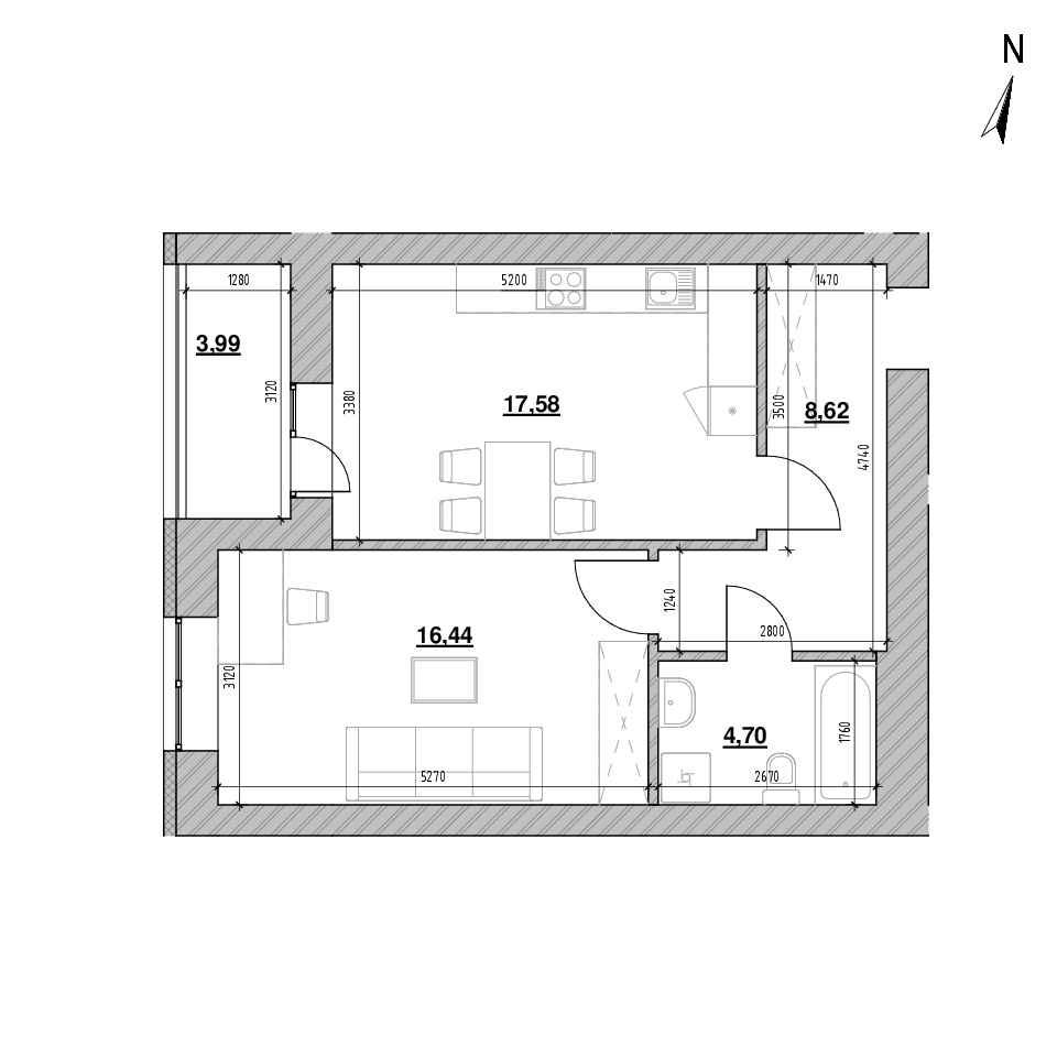 ЖК Шенген: планування 1-кімнатної квартири, №3, 51.07 м<sup>2</sup>