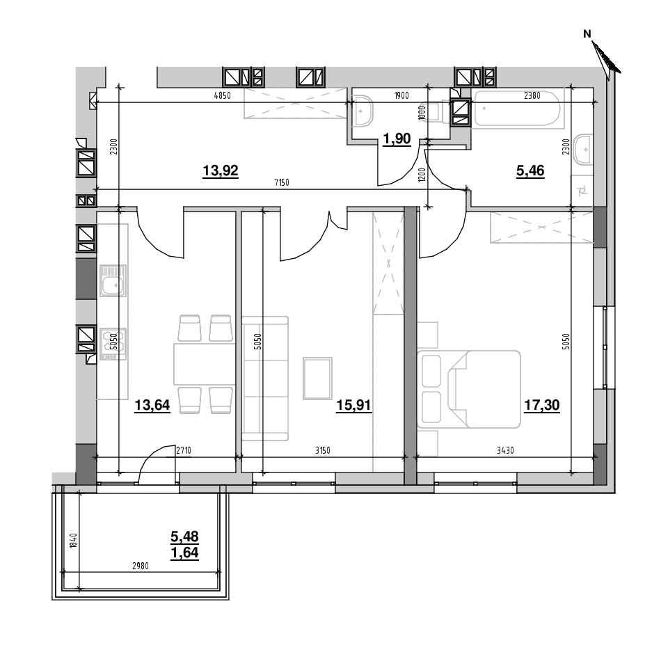 ЖК Riel City: планування 2-кімнатної квартири, №97, 69.76 м<sup>2</sup>