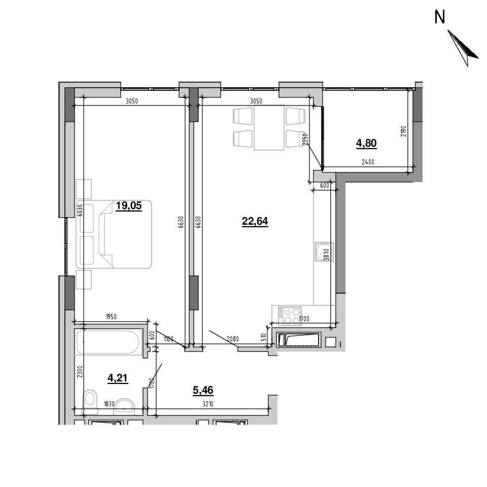 ЖК Підзамче. Вежа: планування 1-кімнатної квартири, №27, 56.16 м<sup>2</sup>