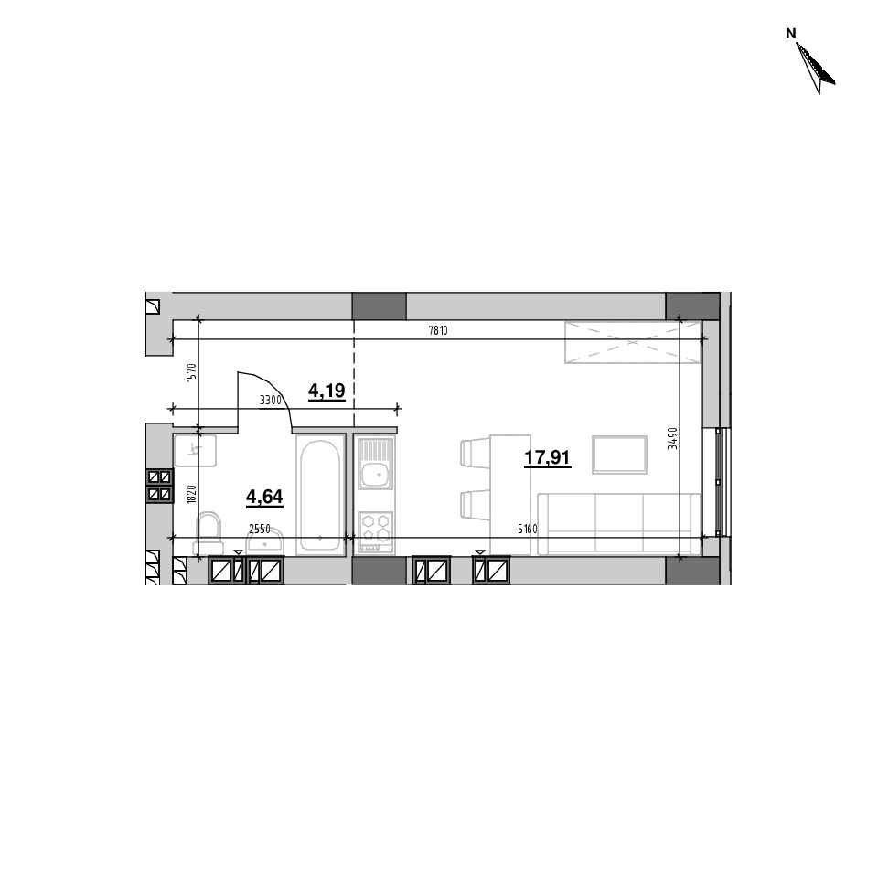 ЖК Riel City: планування 1-кімнатної квартири, №111, 26.74 м<sup>2</sup>