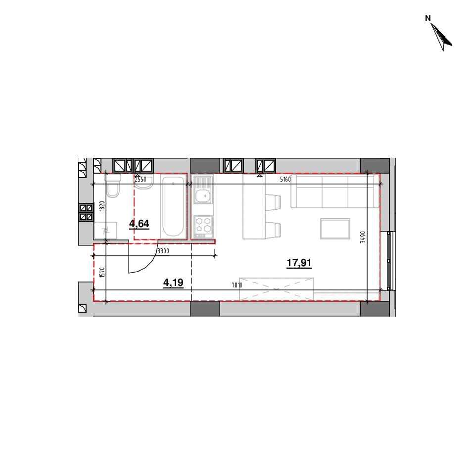 ЖК Riel City: планування 1-кімнатної квартири, №94, 26.74 м<sup>2</sup>