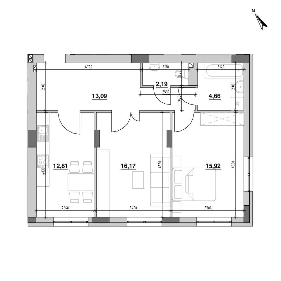 ЖК Riel City: планування 2-кімнатної квартири, №140, 64.84 м<sup>2</sup>