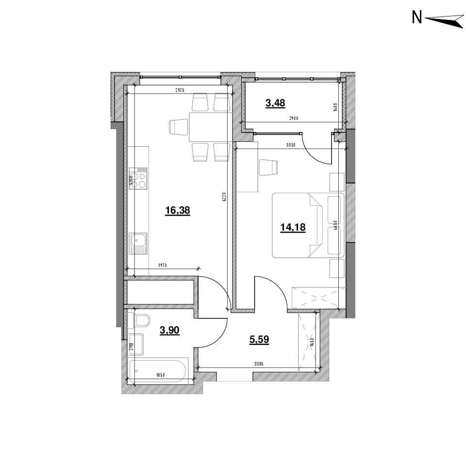 ЖК Nordica Residence: планування 1-кімнатної квартири, №136, 43.53 м<sup>2</sup>
