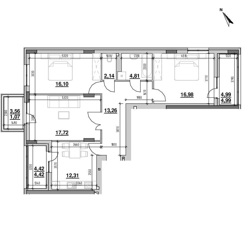 ЖК Riel City: планування 3-кімнатної квартири, №1, 93.8 м<sup>2</sup>